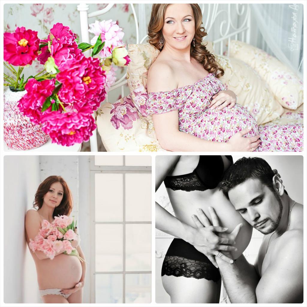 фотосессия в студии беременной с мужем
